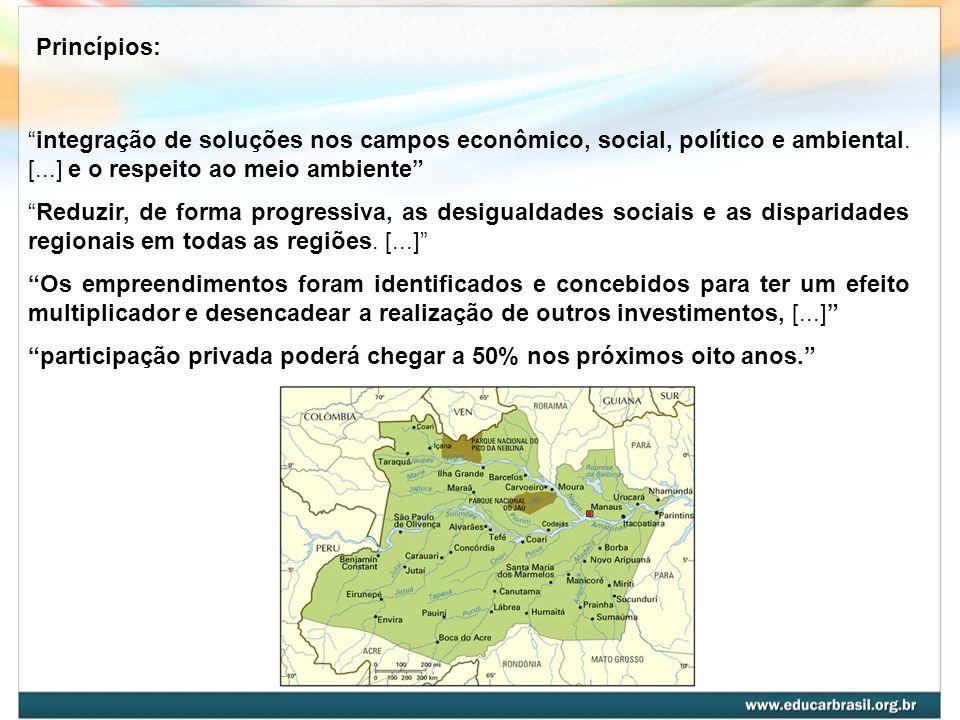 Princípios: integração de soluções nos campos econômico, social, político e ambiental. [...] e o respeito ao meio ambiente